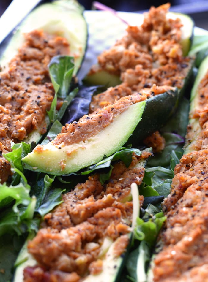 Healthy Chickpea Stuffed Zucchini Boats | vegan, oil-free, gluten-free