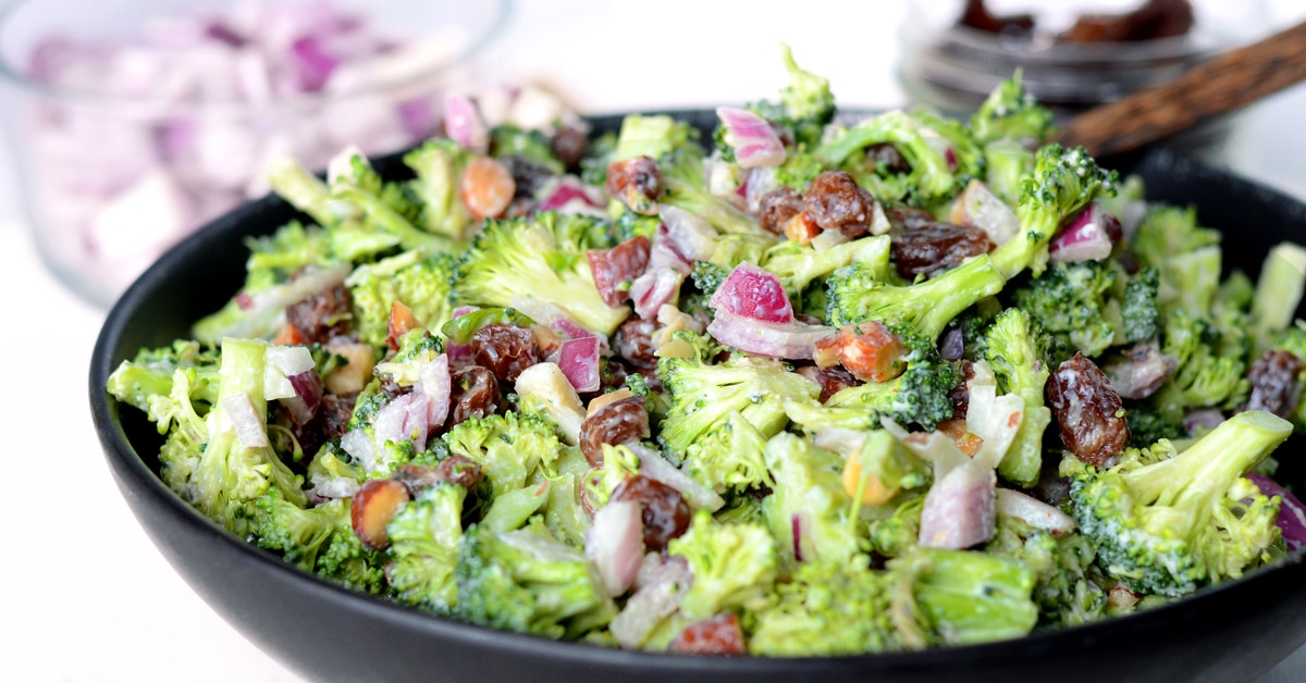 vegan broccoli salad with raisins and almonds oil free