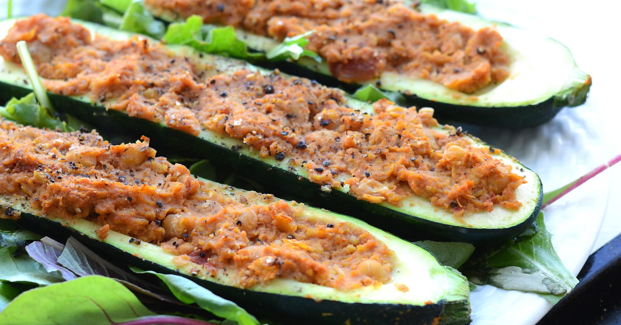 Chickpea Stuffed Zucchini Boats | vegan, low fat, high protein