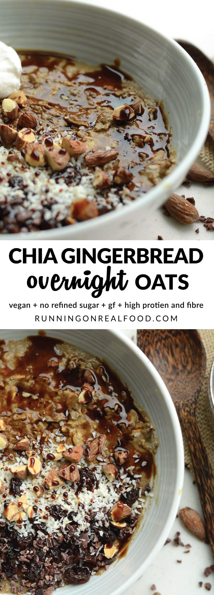 These incredible gingerbread overnight oats with protein and chia seed taste like gingerbread cookie dough! High in fibre and plant-based protein, healthy fats from chia seeds and energizing carbohydrates from oats and molasses. If you love gingerbread, you will love these overnight oats! Vegan, gluten-free, no refined sugar.
