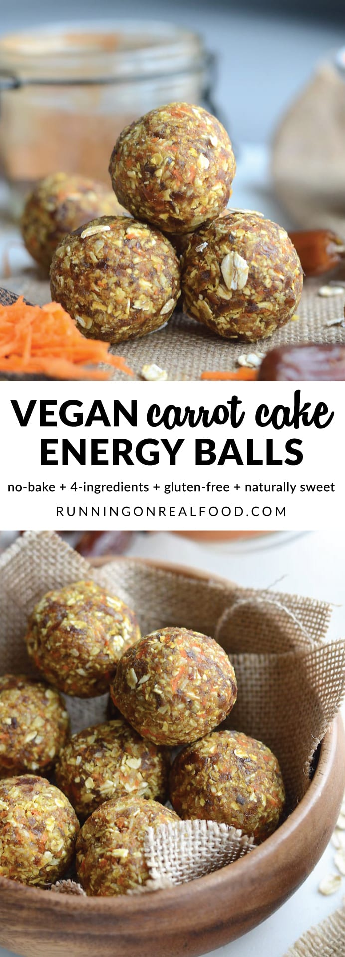 These delicious, no-bake, vegan carrot cake energy balls are sure to be your new favourite snack. Easy to make in minutes with just 4 ingredients plus cinnamon and sea salt. Nut-free, oil-free, no added sugar, gluten-free.