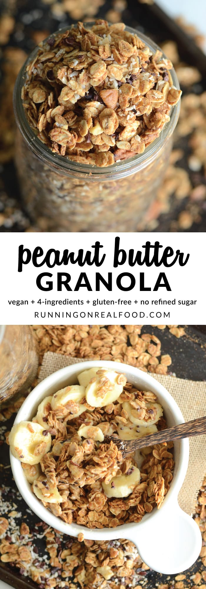 This easy to make, vegan, peanut butter granola requires just 4 wholesome, natural ingredients. It's amazing enjoyed as is or you can customize it with add-ins like chocolate chips!