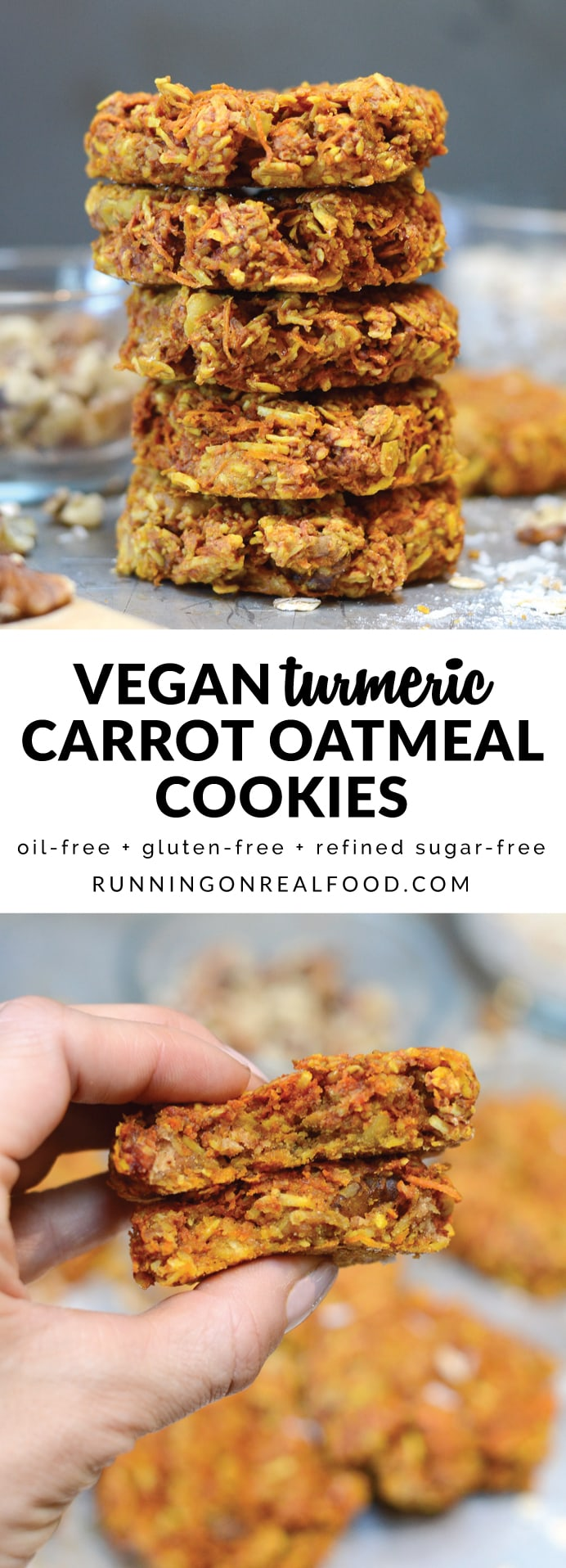 These vegan turmeric carrot oatmeal cookies have the most wonderful, hearty texture. They're oil-free, naturally sweetened, gluten-free and taste amazing! Loaded with nutrition from walnuts, natural peanut butter, coconut, turmeric, carrots and rolled oats.