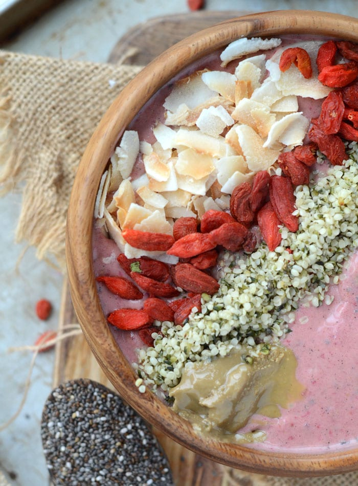 The Best Superfoods to Add to Smoothies + Strawberry Maca Almond Butter Smoothie Bowl