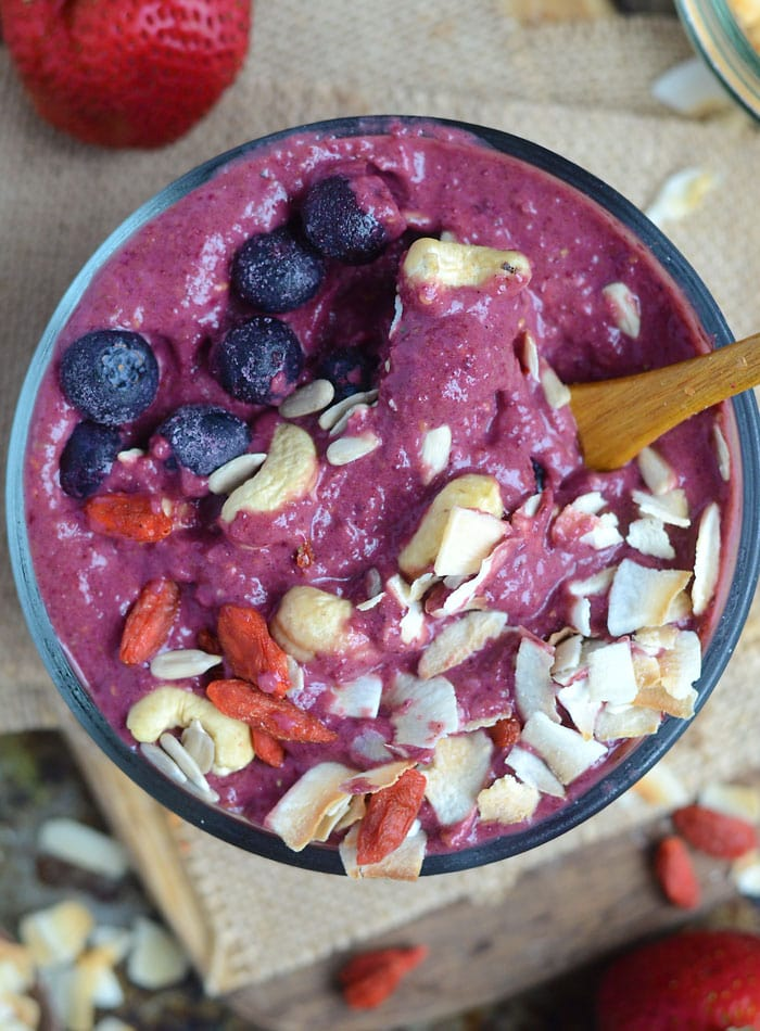 Coconut Strawberry Beet Smoothie Bowl | healthy, vegan, high-protein