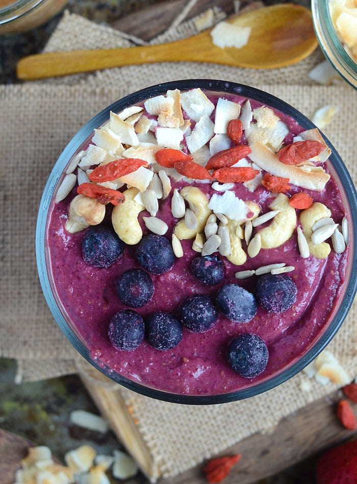 Coconut Strawberry Beet Smoothie Bowl   healthy, vegan, high-protein