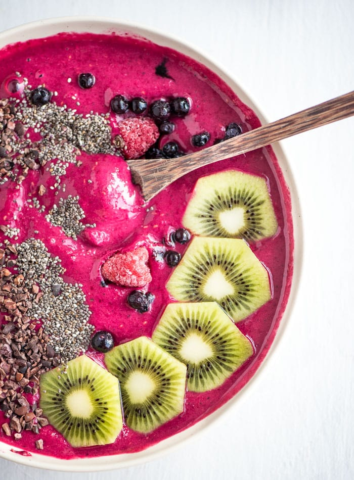 Healthy Strawberry Beet Smoothie Bowl - Running on Real Food