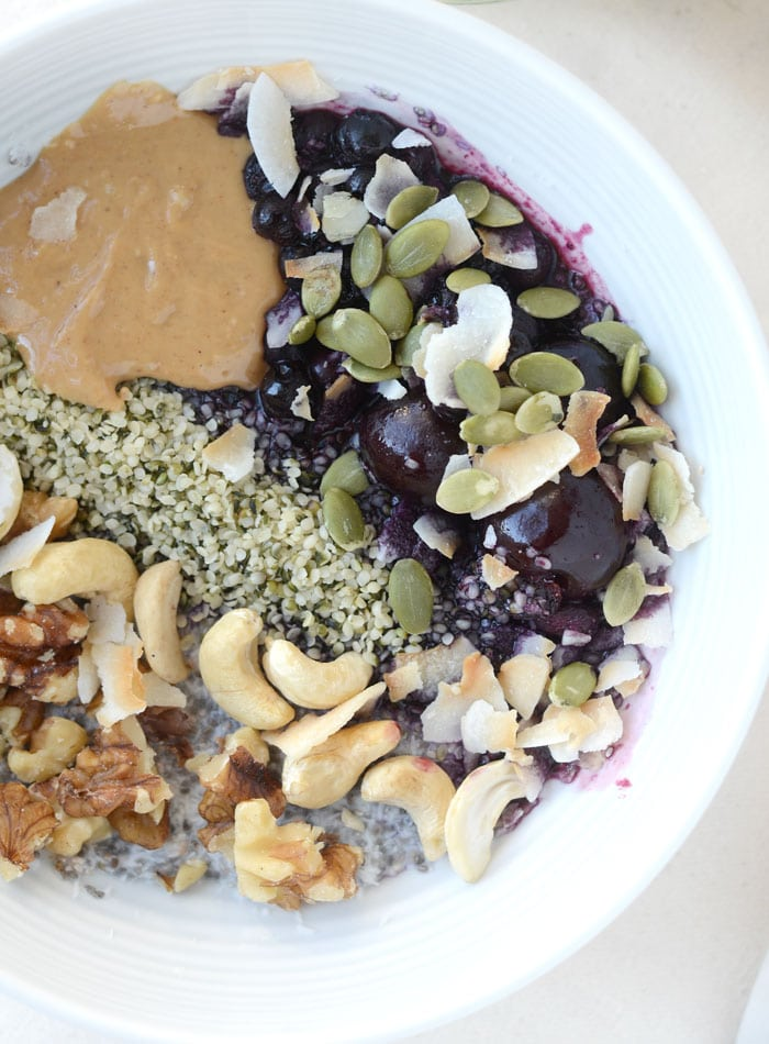 Healthy Grain-Free Coconut Chia Breakfast Bowls | vegan, gluten-free, low carb