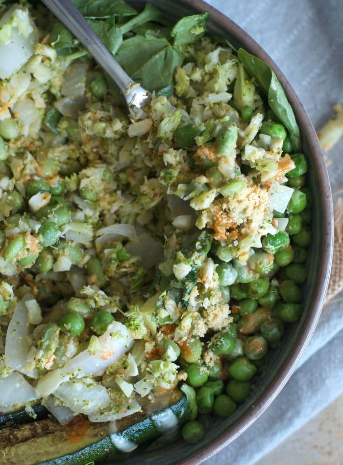 Broccoli Rice Green Buddha Bowls with Tahini and Vegan Parmesan | grain-free | running on real food
