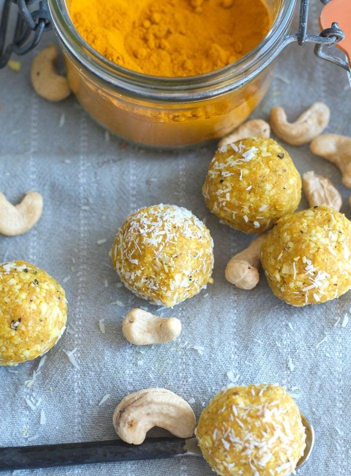 No-Bake Turmeric Coconut Balls with Ginger and Black Pepper, Vegan, Grain-Free