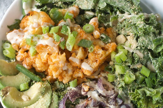 Buffalo Cauliflower Kale Salad
