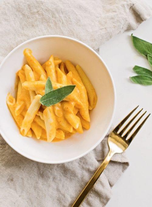 Falafel Bowl | Vegan Penne with Pumpkin Cream Sauce from Frugal Vegan Cookbook