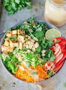 Crispy Tofu Kale Salad with Creamy Coconut Peanut Dressing | Vegan and Gluten-free | Running on Real Food