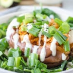 Healthy Buffalo Chickpea Stuffed Sweet Potatoes with Vegan Ranch Dressing Chickpea Stuffed Sweet Potatoes with Vegan Ranch Dressing