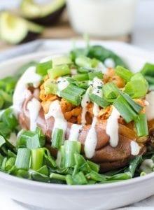 Healthy Buffalo Chickpea Stuffed Sweet Potatoes with Vegan Ranch Dressing Chickpea Stuffed Sweet Potatoes with Vegan Ranch Dressing