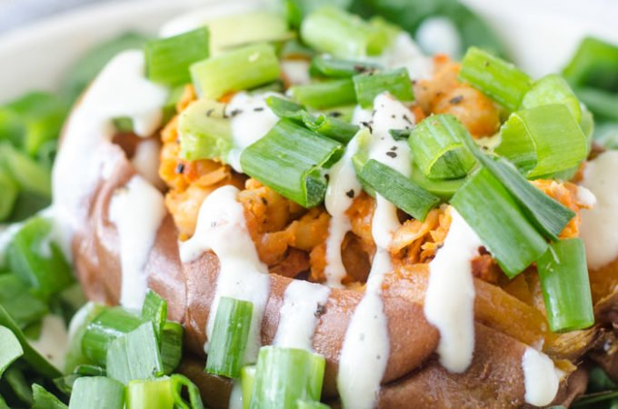Buffalo Chickpea Stuffed Sweet Potatoes