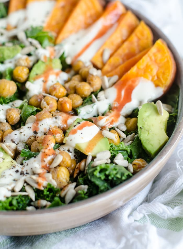 Roasted Chickpea Kale Salad with Avocado, Sweet Potato and Lemon Tahini Sauce