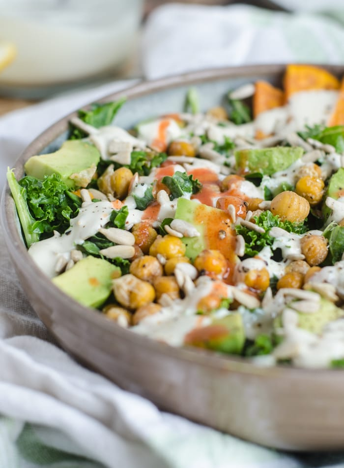 ed Chickpea Kale Salad with Avocado, Sweet Potato and Lemon Tahini Sauce