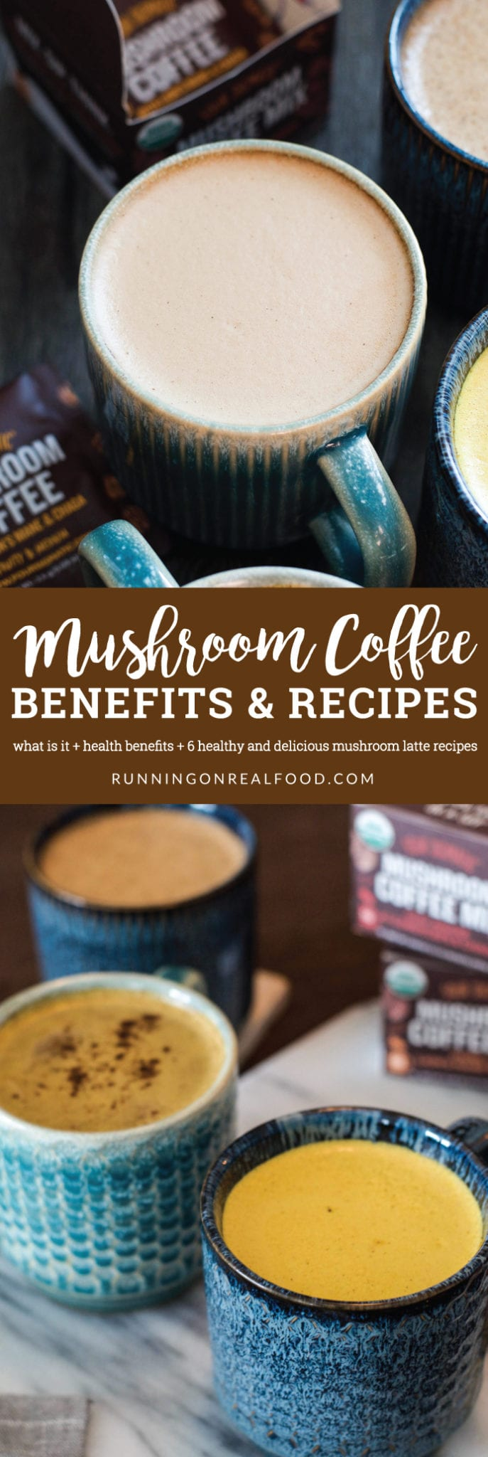 Learn all about mushroom coffee! How and when to drink it, what it is, the health benefits and how to use it to create delicious vegan, mushroom coffee latte recipes! These nourishing drinks are frothy, foamy and creamy. 6 healthy recipes to try.