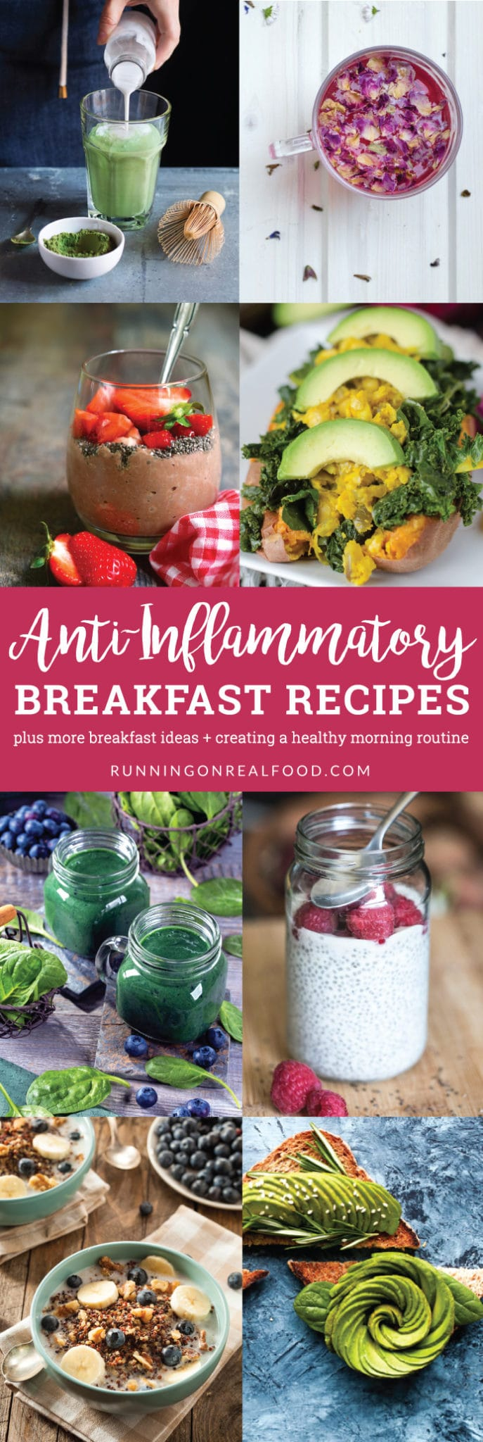 Reduce stress, boost energy and heal inflammation with a healthy morning routine and one of these easy, delicious, anti-inflammatory breakfast recipes. 4 easy, healthy vegan recipes plus plenty of more ideas for no-recipe needed creations.