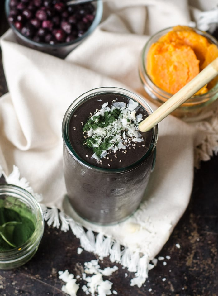 Chocolate Blueberry Sweet Potato Smoothie with Chaga and Cacao | Vegan