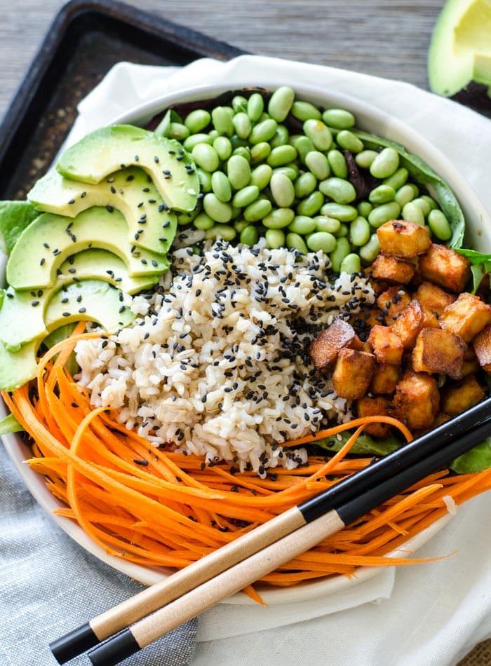 Sriracha Baked Tofu Brown Rice Bowls A Vegan Take On