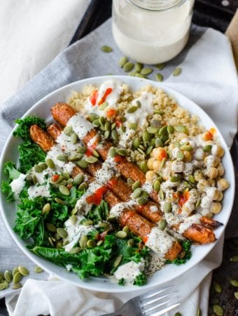 Roasted Carrot, Kale and Quinoa Bowl