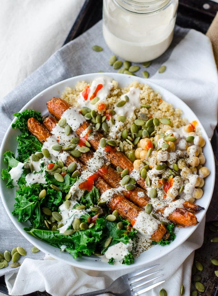 Vegan Whole Roasted Carrot, Kale and Quinoa Bowl with Lemon Tahini Dressing | gluten-free | Running on Real Food