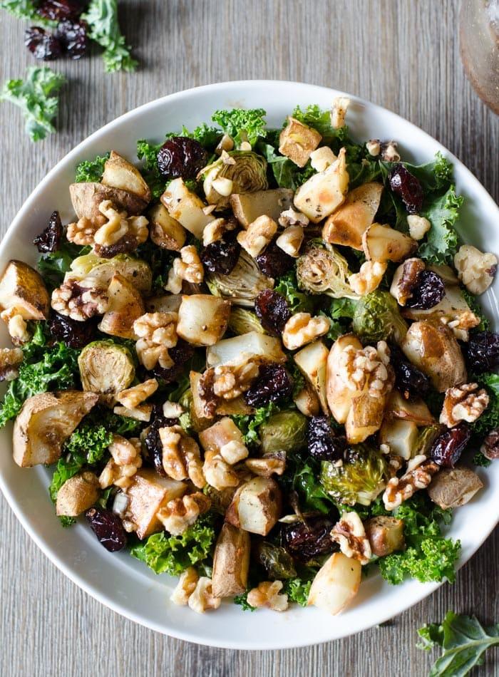 Healthy Roasted Potato Kale Salad with Balsamic Vinaigrette | vegan and gluten-free