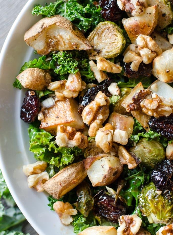 Healthy Roasted Potato Kale Salad with Balsamic Vinaigrette   vegan and gluten-free