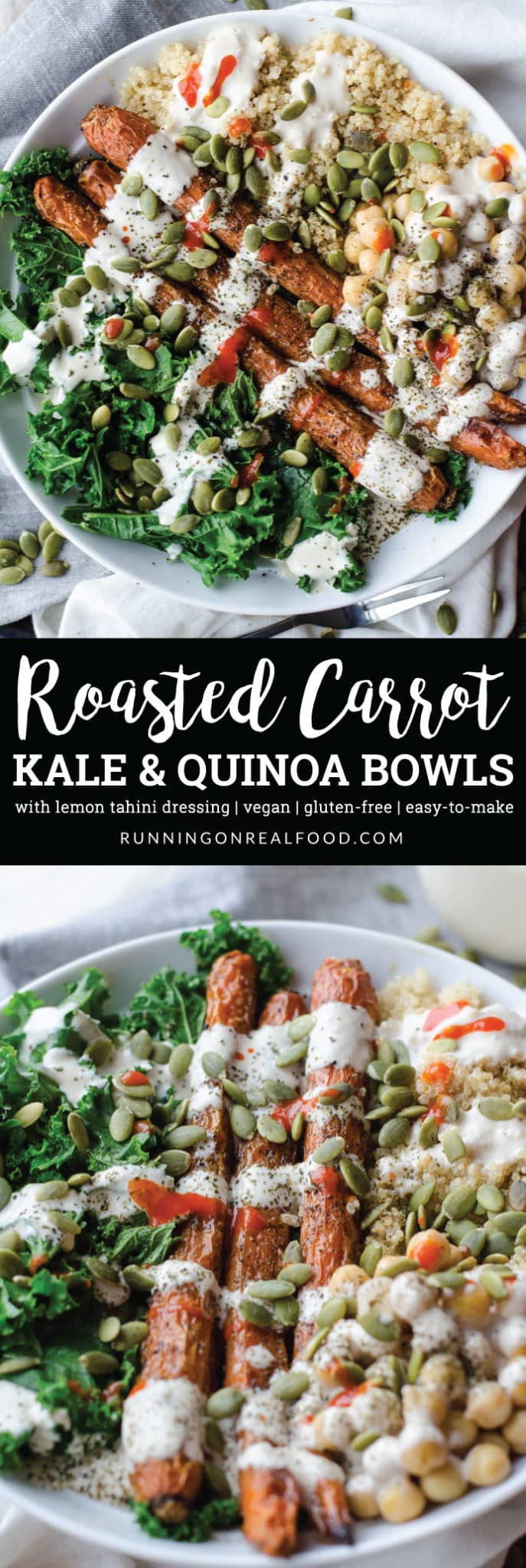 Try this Roasted Carrot Kale and Quinoa Bowl with Chickpeas and Tahini Dressing for an amazing plant-based meal.