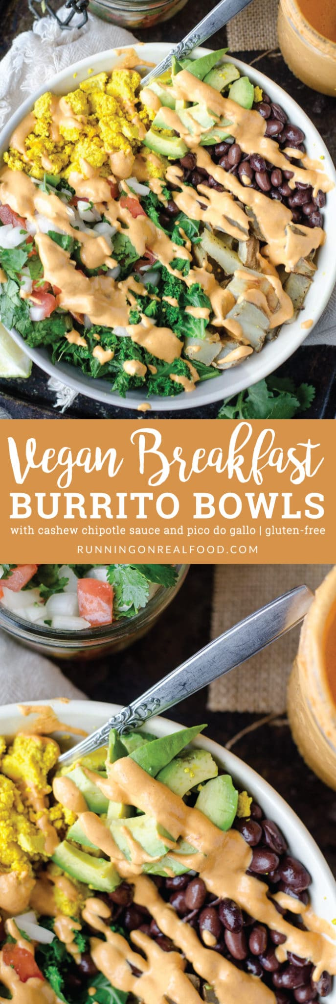This vegan breakfast burrito bowl with cashew chipotle sauce features all the goods: avocado, peppers, black beans, potatoes, pico de gallo and tofu scramble. Gluten-free, oil-free.