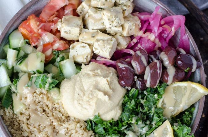 Mediterranean Quinoa Bowls with Tofu Feta