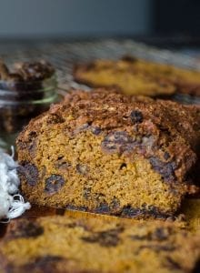Vegan Pumpkin Date Bread made with Spelt Flour and Coconut Sugar