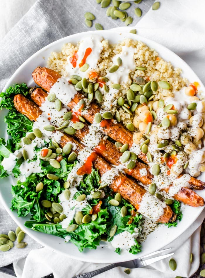Vegan Roasted Carrot Kale and Quinoa Salad - Running on Real Food
