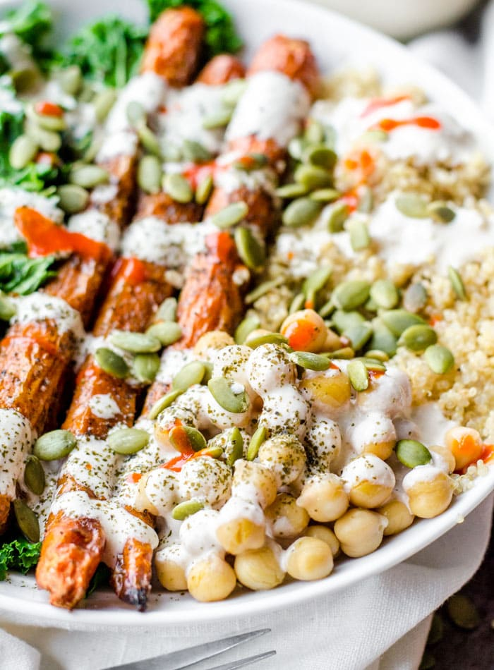 Roasted Carrot Chickpea Quinoa Salad - Running on Real Food