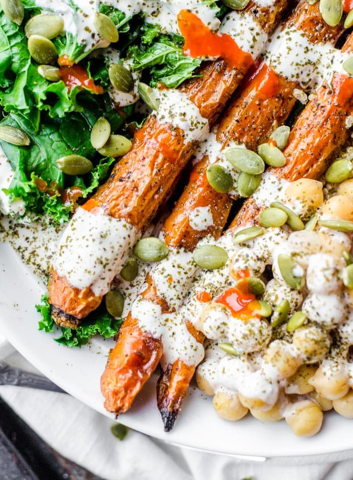 Healthy Vegan Roasted Carrot Salad - Running on Real Food