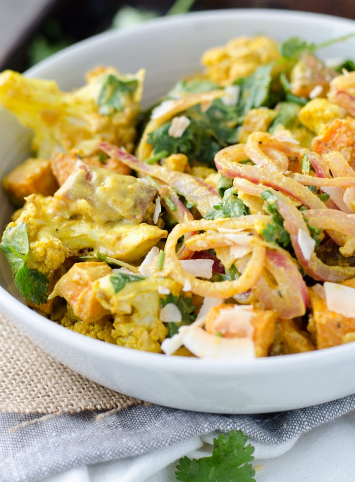 Vegan Curried Roasted Cauliflower Salad with Sweet Potato, Coconut and Cilantro | Gluten-Free