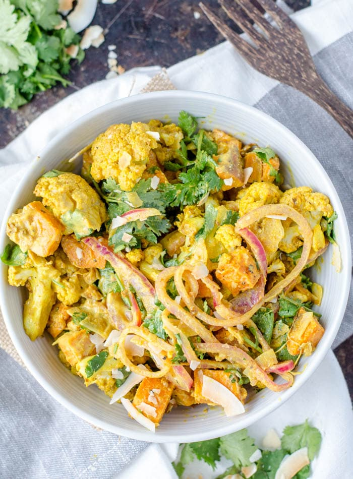 Curried Roasted Cauliflower Salad