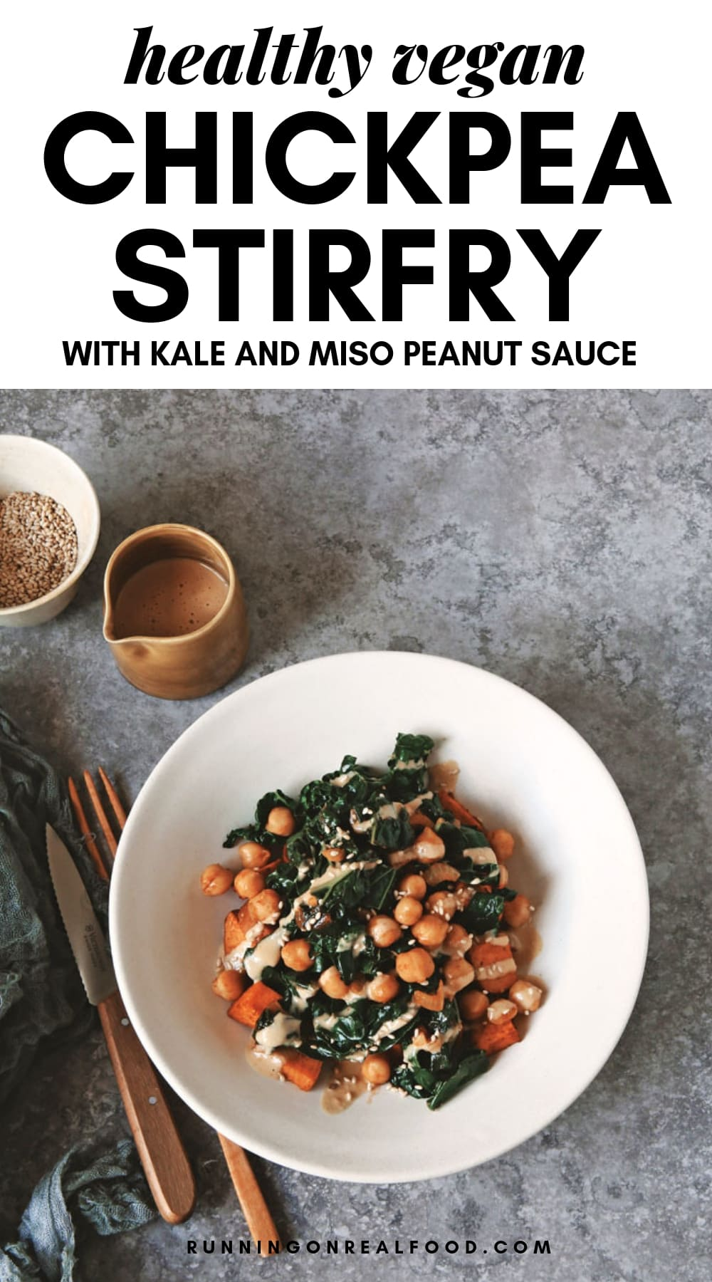 So quick and easy, this flavor-packed, smoky kale and chickpea stir-fry with miso peanut sauce is great served alone. It's also a perfect match with roasted sweet potatoes to make for a colorful complete meal. While definitely good for you, this dish is quite a treat too. Vegan, gluten-free.