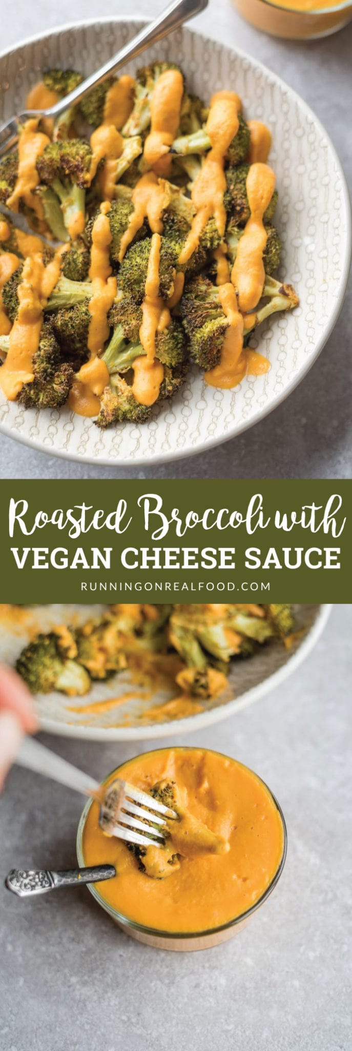 Try this amazingly smooth and creamy, oil-free vegan cheese sauce over tender but crispy cheesy roasted broccoli for a healthy, nutritious side or snack.
