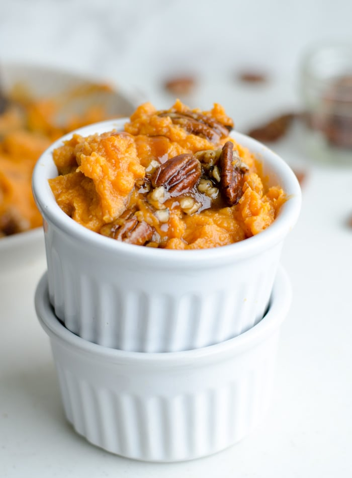 Coconut Mashed Sweet Potatoes with Maple Pecan Sauce