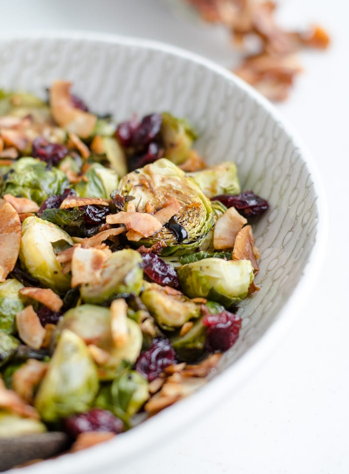 Vegan Roasted Brussel Sprouts with Balsamic Glaze for Thanksgiving.