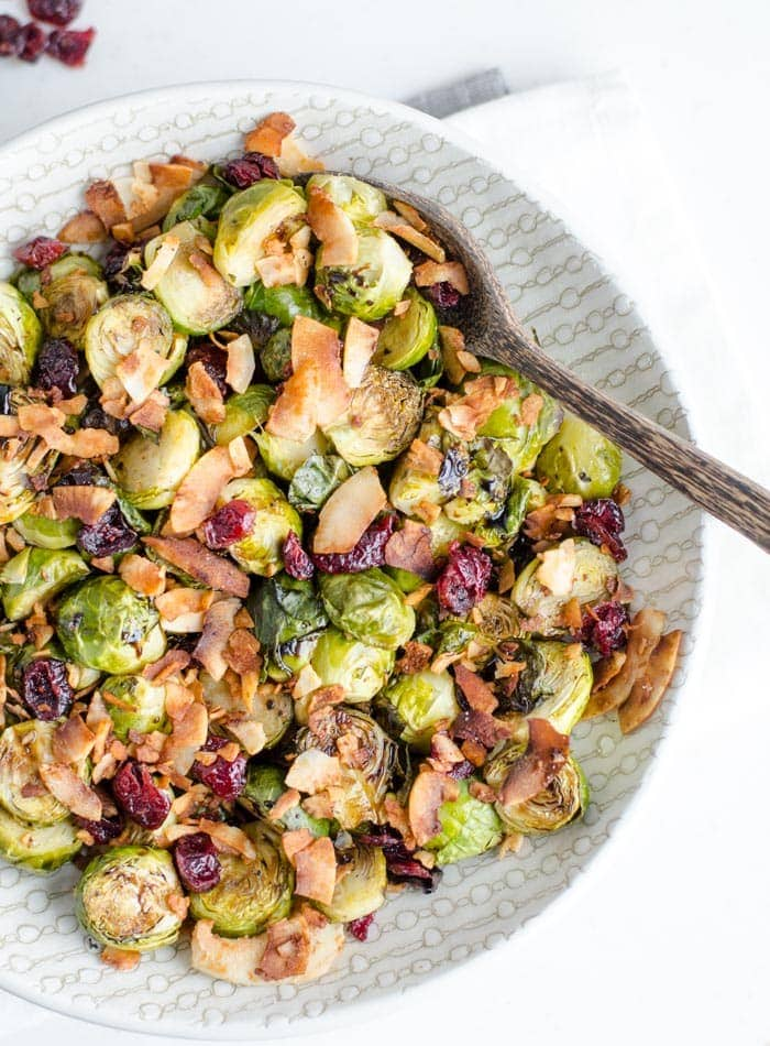 Roasted Brussel Sprouts with Balsamic Maple Glaze and Coconut Bacon