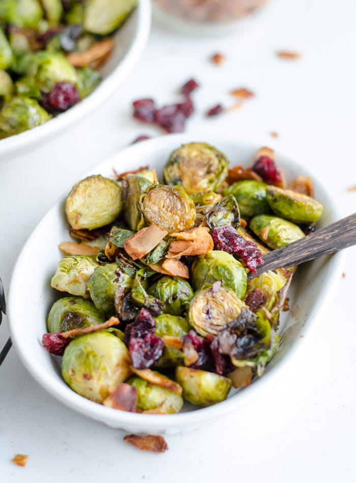 Roasted Brussel Sprouts with Maple Balsamic Glaze, Coconut Bacon and Cranberries