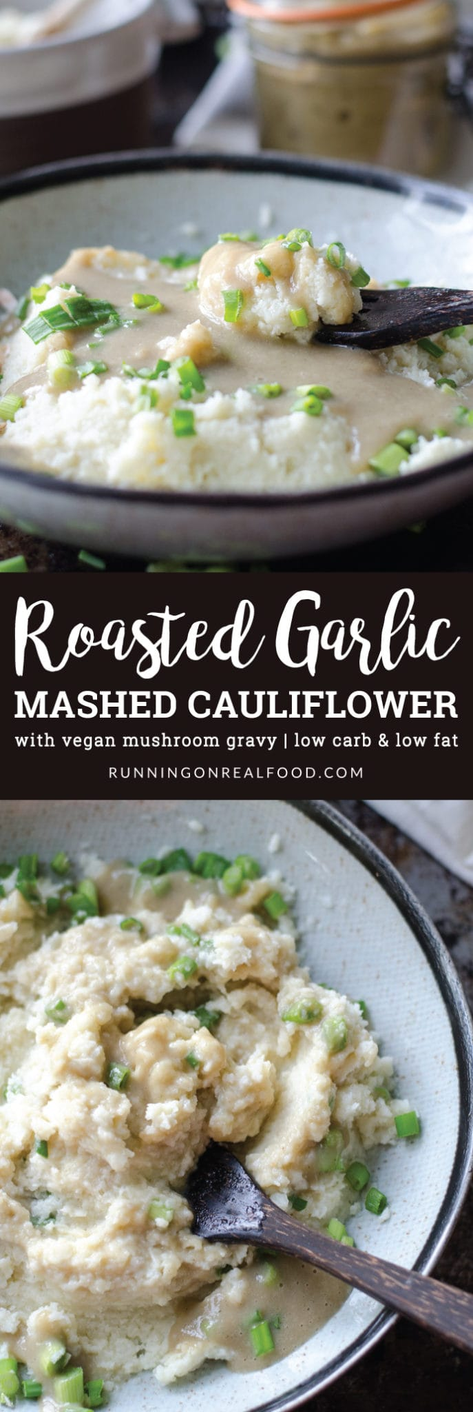 Try Roasted Garlic Mashed Cauliflower with Vegan Mushroom Gravy for a healthy, low carb & low fat alternative to potatoes and gravy at your holiday meals. Loaded with flavour, extra creamy, completely plant-based, gluten-free, oil-free and sugar-free.