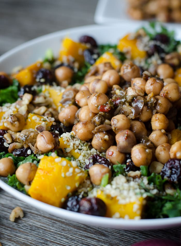 Vegan Roasted Squash Salad with Marinated Chickpeas