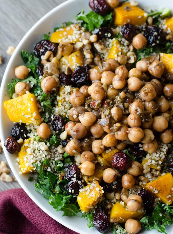 Vegan Roasted Squash Salad with Marinated Chickpeas