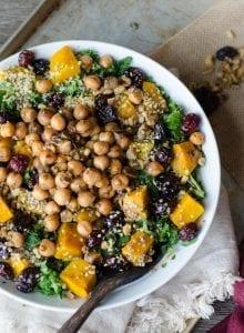 Vegan Roasted Squash Kale Salad with Marinated Chickpeas