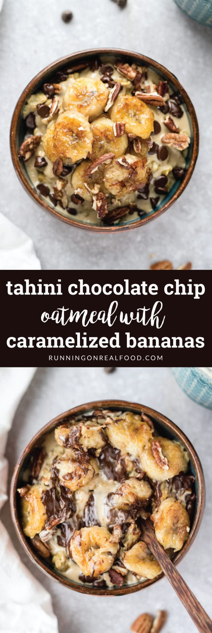 This Tahini Chocolate Chip Oatmeal with Caramelized Bananas is a special treat. Enjoy it on a rainy Sunday or cozy Christmas morning. Vegan and Naturally Gluten-free.
